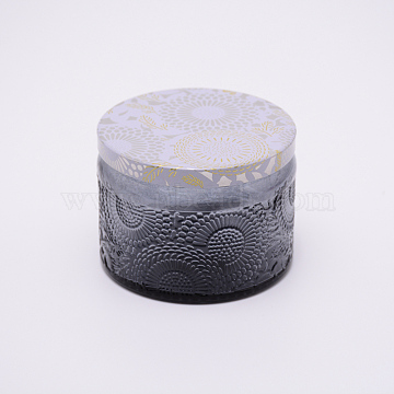 Glass Storage Box, Container for Jewelry, Aromatherapy Candle, Candy Box, with Slip-on Lid, Flower Pattern, Gray, 71x52mm(CON-WH0072-27D)