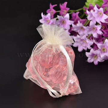 Creamy White Jewelry Packing Drawable Pouches, Organza Gift Bags, 9x7cm(X-OP-9x7cm-1)
