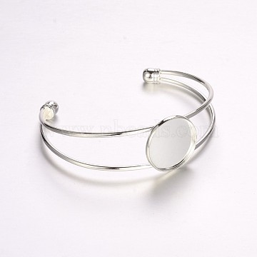 Nickel Free Brass Cuff Bangle Making, Blank Bangle Base, with Flat Round Tray, Silver Color Plated, 63mm, Tray: 20mm(KK-J184-57S-NF)