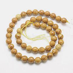 """Chapelets de perles en bois pétrifié naturel, teint, facette, rond, 14mm, trou: 1mm; environ 28 pcs/chapelet, 15.75""""(G-G542-14mm-06)"""