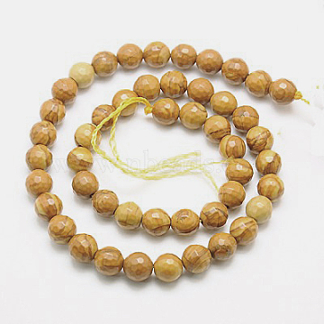 Natural Petrified Wood Beads Strands, Dyed, Faceted, Round, 14mm, Hole: 1mm, about 28pcs/strand, 15.75 inches(G-G542-14mm-06)