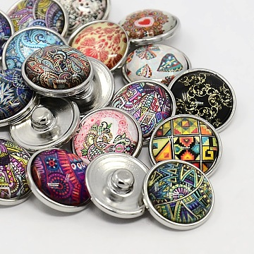 Platinum Plated Brass Glass Flat Round with Abstraction Painting  Jewelry Snap Buttons, Mixed Color, 12x9mm, Knob: 4.5mm(X-SNAP-M023-A-M)