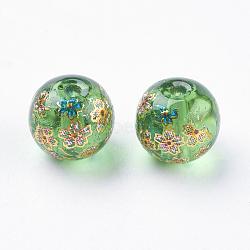 fleur photo perles de verre imprimé, arrondir, vert, 8x9 mm, trou: 1 mm(GLAA-E399-8mm-C05)