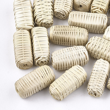 Handmade Woven Beads, Reed Cane/Rattan Covered with Wood, For Making Straw Earrings and Necklaces, No Hole/Undrilled, Cuboid, AntiqueWhite, 30~34x15~17x15~17mm(X-WOVE-T006-077)