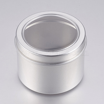 Round Aluminium Tin Cans, Aluminium Jar, Storage Containers for Jewelry Beads, Candies, with Slip-on Lid and Clear Window, Platinum, 6x4.65cm; Capacity: 60ml(2.02 fl. oz)(X-CON-L007-01-60ml)