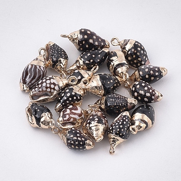 Electroplate Spiral Shell Pendants, with Iron Findings, Golden, Black, 16~20x8~11x7~10mm, Hole: 1.5mm(X-SSHEL-T009-19)