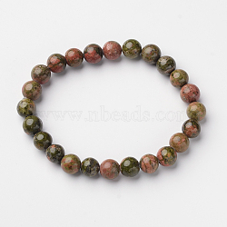 Natural Unakite Round Bead Stretch Bracelets, 2-1/8inches(5.5cm)(X-BJEW-L594-A02)
