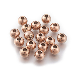 304 Stainless Steel Spacer Beads, Round, Rose Gold, 3mm, Hole: 1mm