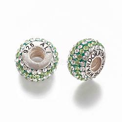 perles de cristal européen autrichien de bouchon, grandes perles de trou, avec logo et noyau en argent sterling, vis, boulier, 238 _chrysolite, 12x7.5 mm, trou: 4.5 mm(N0R4G081)
