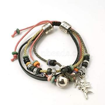 Alloy Multi-strand Bracelets, Waxed Cotton Cord and Leather Cord with Alloy Findings and Wood Beads, Coral, about 46mm inner diameter, Alloy findings: 6~12x2~10mm; Wood Beads: 6x3~5mm; CCB Plastic: 24x15x3mm(BJEW-D265-1)