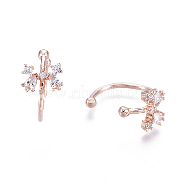 Brass Micro Pave Clear Cubic Zirconia Cuff Earrings, Butterfly, Rose Gold, 13x1mm, Inner Diameter: 10.2mm(EJEW-I249-03RG)
