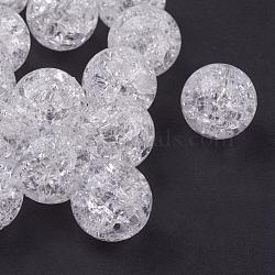 Perles en acrylique transparente, crépitement, rond, blanc, environ 12 mm de diamètre, Trou: 2mm, environ 500 pcs/500 g(PAB984Y-1)