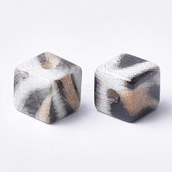 Perles acryliques imprimées, cube, navajo blanc, 12x12x12mm, Trou: 3.5mm(MACR-T024-61A)