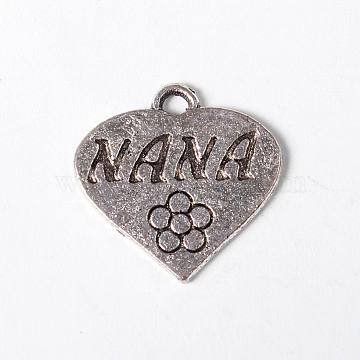 Heart Shaped Antique Silver Tibetan Style Alloy Message Love Pendants, Lead Free & Nickel Free, 18x18x2mm, Hole: 2x1.5mm(X-TIBEP-A113432-AS-FF)