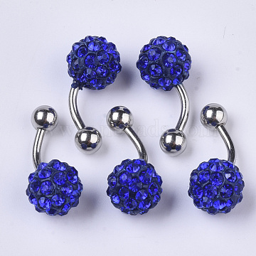 Stainless Steel Body Jewelry, Belly Rings, with Polymer Clay Rhinestones, Round, Sapphire, 25~29.5x10mm, Pin: 1.2mm; PP11(1.7~1.8mm)(AJEW-T007-01D)