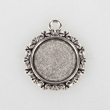 Tibetan Style Alloy Pendant Cabochon Settings, Cadmium Free & Lead Free, Flat Round, Antique Silver, Tray: 18mm; 30x25x2mm, Hole: 3mm(X-TIBEP-N003-49AS)