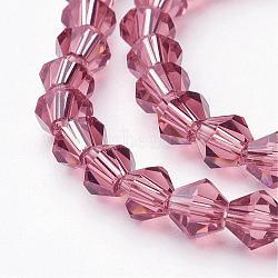 Темно-розовый стекло Bicone бисер пряди, граненые, 6x6 мм, Отверстие : 1 мм; около 50 шт / нитка, 11.4