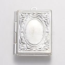 Pendentifs de médaillon en laiton, livre, argenterie, 26.5x19x4.5mm, Trou: 1.5mm(X-KK-N0116-092S)