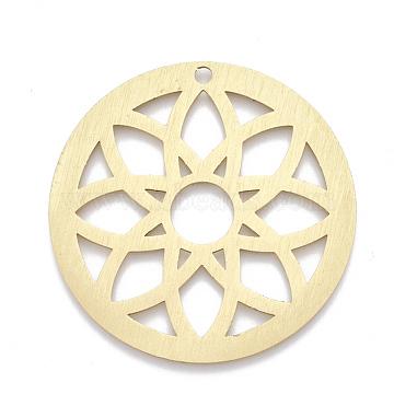 Aluminium Big Pendants, Laser Cut Big Pendants, Flat Round with Flower, Golden, 50x1mm, Hole: 3mm(ALUM-T001-16G)