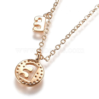 Brass Micro Pave Clear Cubic Zirconia Double Letter Pendant Necklaces(NJEW-Z010-05)-2