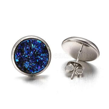 Flat Round 304 Stainless Steel Druzy Resin Ear Studs, Dark Turquoise, 14x7mm; Pin: 0.7mm(EJEW-TA0006-02)