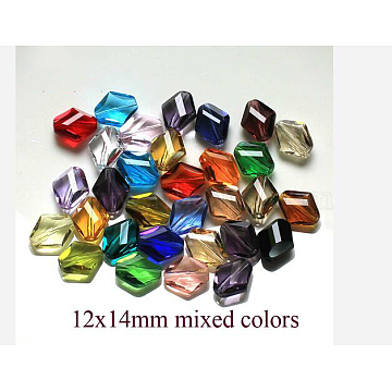 14mm Mixed Color Rhombus Glass Beads