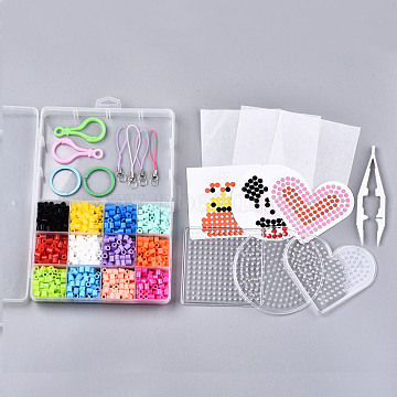 12 Colors 1200pcs Fuse Beads Kits for Kids, Keychain Making, Including Random 3pcs Pattern Paper, Ironing Paper, Pegboards, Mixed Color, 5x5mm, 100pcs/color(DIY-N002-014)
