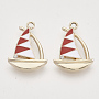 Alloy Enamel Pendants, with Crystal Rhinestone, Light Gold, Sailboat, Red, 21.5x15.5x2.5mm, Hole: 2mm