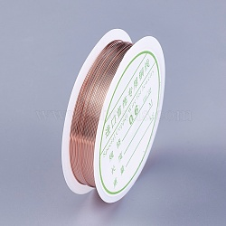 Copper Wire, Rose Gold, 22 Gauge, 0.6mm; 5m/roll(YS-TAC0001-01A-RG)