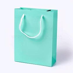 Sacs en papier kraft, avec poignées, sacs-cadeaux, sacs à provisions, rectangle, aigue-marine, 20x15x6.2 cm(AJEW-F005-01-B01)