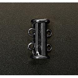 Fermoirs à coulisse en laiton à  2-brins, accessoire de bijoux, 4 trous, gunmetal, 15x6mm, Trou: 2mm(X-KK-Q356-2)