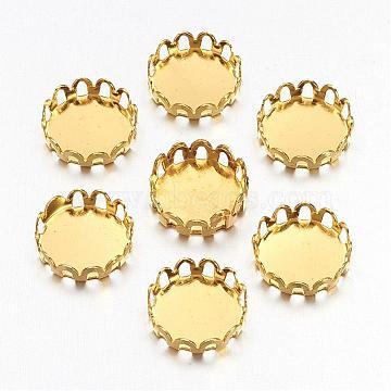 Flat Round Brass Lace Edge Bezel Cups, Cabochon Settings, Cadmium Free & Lead Free, Golden, Tray: 10mm(X-KK-C1764-3-G)