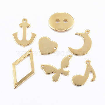 304 Stainless Steel Findings, Mixed Style Pendants & Charms & Links, Golden, 5~25x6~18x0.8~1mm, Hole: 1mm(STAS-H557-52G)
