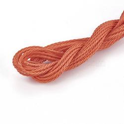 вощеный шнур полиэстера, коралловый, 1 мм; о 8.96~9 м / рулон(YC-WH0005-21)