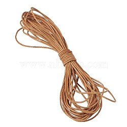 Cordon en cuir de vachette, cordon de bijoux en cuir , bricolage bijoux matériau de fabrication, rond, chocolat, 1mm(WL-TAC0001-1mm)