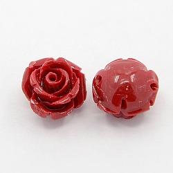 Perles roses de fleur de 3D en corail synthétique, teint, firebrick, 14~15x9mm, Trou: 1.5mm(CORA-A006-15mm-002)