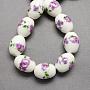 11mm Plum Oval Porcelain Beads(PORC-Q150-8mm-1)