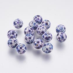 perles en résine peintes par pulvérisation, avec motif de coeur, arrondir, darkslateblue, 10 mm, trou: 2 mm(GLAA-F049-A28)