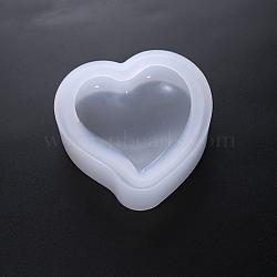 Moules en silicone, moules de résine, pour la résine UV, fabrication de bijoux en résine époxy, cœur, blanc, 5.2x4.8x1.6 cm(DIY-I011-04C)