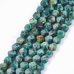 jaspe de sésame naturel / perles de jaspe kiwi, teints, facettes, arrondir, cadetblue, 8x8x8 mm, trou: 1 mm; environ 47~50 perle / brin, 14.5(X-G-S348-02F)