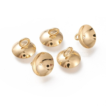 304 Stainless Steel Bead Cap Pendant Bails,  for Globe Glass Bubble Cover Pendant Making, Half Round, Golden, 10x7mm, Hole: 2.8mm(STAS-K194-23G-01)