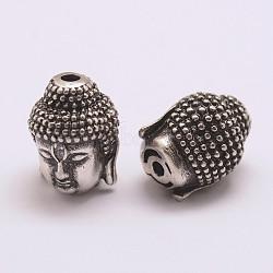 Perles de zircone cubique de grade AAA de micro pave, Plaqué longue durée, Sans cadmium & sans nickel & sans plomb, Bouddha, 925 argent sterling thaï plaqué, 13x10x10mm, Trou: 2mm(ZIRC-G093-38AS-NR)
