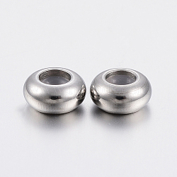 202 Stainless Steel Beads, with Plastic, Slider Beads, Stopper Beads, Rondelle, Stainless Steel Color, 9x4.5mm, Hole: 3mm(X-STAS-F148-9mm-07P)