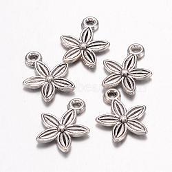 Argent antique fleur de style tibétain pendentif, sans plomb et sans cadmium, Longueur 13.5mm,  largeur de 10.5 mm, 3 mm d'épaisseur trou: 1.5 mm