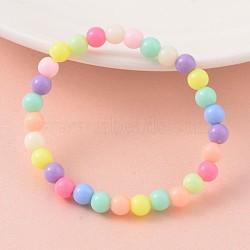 Bracelets opaques en acrylique à perles élastiques, couleur mélangée, 43 mm(BJEW-JB02068)