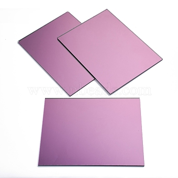 Glass Sheets, Mirror Mosaic Border Craft Tiles, for Home Decoration or DIY Crafts, Rectangle, Plum, 200x150x3.5mm(GLAA-G072-06D)
