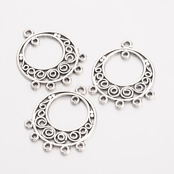 Alloy Dangle Chandelier Component Link, Cadmium Free & Lead Free, Antique Silver Color, Flat Round, about 24mm long, 20mm wide, 1mm thick, hole: 1mm(X-EA8531Y)