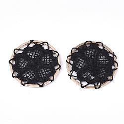 décorations de pendentif tissées de polyester, avec les conclusions de fer, plat et circulaire avec fleur, or et de lumière, noir, 28x2 mm(FIND-S283-05A)