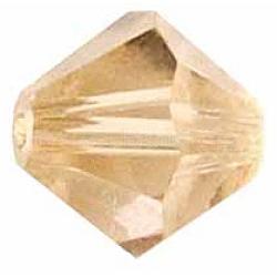 Perles de verre tchèques, facette, Toupie, Lt.Brown, 6 mm de diamètre, Trou: 0.8mm, 144 pcs / brut(302_6mm246)