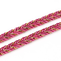 Braided Cloth Threads Cords for Bracelet Making, DeepPink, 6mm; about 50yards/roll(150 feet/roll)(OCOR-L015-05)